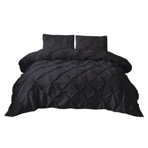 Pinch Pleat Duvet Cover Bedding Cover Set 3 Piece with Zipper Closure 100% Brushed Microfiber