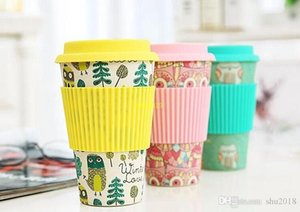 100 pcs Novelty Bambu Fiber Powder Canecas Café Xícaras Milk Drinking Cup Travel Gift Eco Friendly Free Shipping
