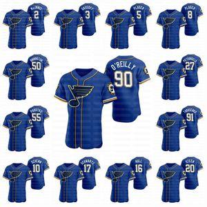 St. Louis Blues 2020 Hockey X Baseball Crossover Tarasenko Ryan O'Reilly Tarasenko Binnington Perron Pietrangelo Schenn Jersey
