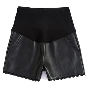 931# Black PU Maternity Shorts Autumn Winter Korean Fashion Sexy Hot Shorts Clothes for Pregnant Women Pregnancy Belly Bottoms