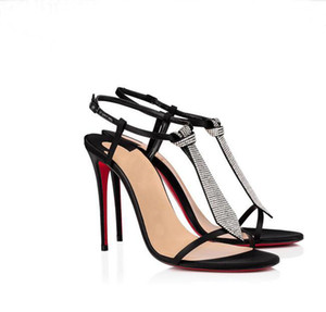 Elegant Crepe Satin Strass Sandals Black Shocking Leather Women Shoes Red Bottom Eloise Shoe Italy Luxury High Heels Pumps Party Dress