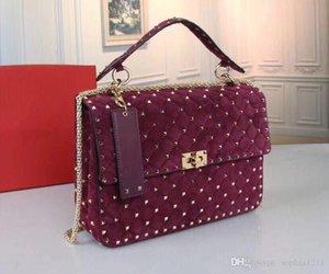 2018 Новый замша сумка плеча Длинные цепи высокого качества Заклепки сумка мягкая сумка для фотокамеры погоны Red Nude вина Цвета Big Love Key