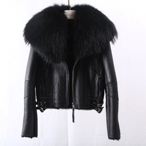 2019 Real Fur Coat Winter Jacket Women Natural Fox Fur Collar Real Wool Fur Liner Faux Leather Thick Warm Acne Streetwear