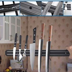 6 Taille Porte-lame magnétique Montage mural couteau en métal noir Porte-bloc en plastique Couteau magnétique Porte cuisine Organisateur rack BH2391 CY