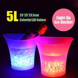 7 لون الصمام جديد 5L ماء البلاستيك LED الجليد دلو اللون البارات الملاهي الليلية LED تضيء الشمبانيا البيرة دلو البارات ليلة الحزب