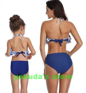 En çocuklar 2020 popüler bölünmüş mayo bayanlar yüksek fırfır ebeveyn çocuk Swim aşınma Bikini Seti yakuda esnek şık seksiliğin ile bikini belli