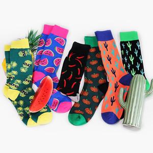 Equipaggio cotone Happy Socks Uomo Donna Stile britannico casuale Harajuku ananas anguria cactus Fashion Art novità per il divertimento coppia
