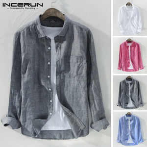 INCERUN 2020 Cotton Men Casual Brand Shirt Button Lapel Long Sleeve Blouse Breathable Harajuku Solid Color Streetwear Camisa