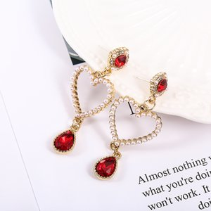 S925 silver needle love small pendant earrings clip female instagram fashion accessories Spring and summer new style earringsl