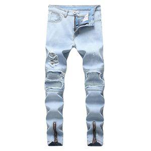 Mens Jean Long Trousers Pencil Denim Pants Street Elastic Hole Washed Fashion Casual Fashion Hip Hop Washed Male Pants