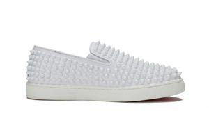 Günlük Dikenler Ayakkabı loafer'lar Platformu Casual Dikenler Sneakers Düğün Flats üzerinde% 100 Gerçek Deri Kırmızı Alt Kayma Ayakkabı 5-12 SZ