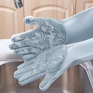 2PCS = 1 زوج من القفازات سيليكون المطبخ تنظيف الصحون قفازات غسل صحن ماجيك الغسيل المطاط أدوات أدوات المطبخ الإسفنج غسيل السيارات