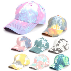 8 color Gradient baseball cap Tie-dye Trucker Hat Spring Summer Designer Colorful Sun hat Fashion Outdoor Sports Hip-hop Cap JJ569