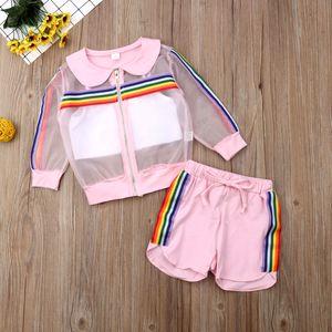 Малыш дети Baby Girl 3шт УФ солнцезащитный костюм комплект одежды Радуга сетка пальто + жилет+брюки наряд девушки летний спортивный костюм 1-7 лет