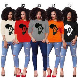 Mapa de África de impresión Diseño sudaderas con capucha de manga larga de la camiseta de las mujeres ropa de otoño suéter Tops Casual Sudaderas niñas de Hip Hop camisa de la blusa D8403