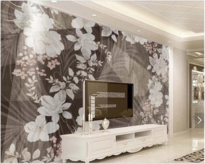 3d landscapes wall custom mural wallpaper Nordic retro black and white gray flower vine background wall modern 3d mural on the wall