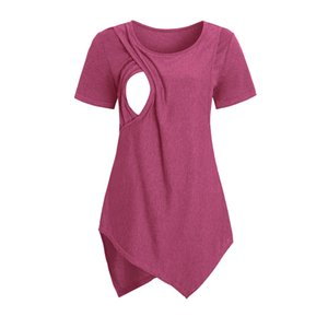Summer Women Pregnant Clothes Short Sleeve Tshirt Layered Solid Nursing Tops Breastfeeding T Shirt Top Maternity Clothing Tees