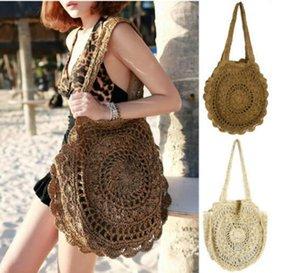 Designer Borse Bohemian paglia per le donne Borse grande cerchio borse della spiaggia di estate Vintage Rattan Bag Handmade Kintted viaggio / 5