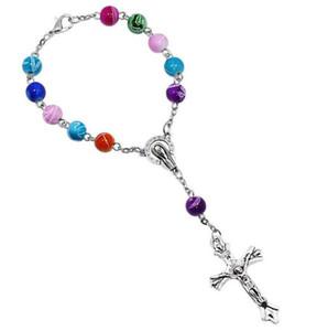 8 мм красочные акриловые бусины католические четки браслет женщины религиозные Иисус крест распятие браслет MOQ 30 шт.