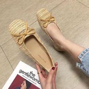 Vente chaude-2019 Baitao Huile Chaud Abricot Système de Couleur Arc Carré Bouche Peu Profonde Single Shoe Femme De Paille Tressée Article Ventilation Confortable