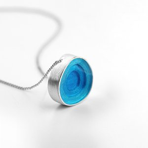 Inature 925 Sterling Silver Blue Enamel Fashion Geometric Round Pendant Necklaces For Women Jewelry SH190721