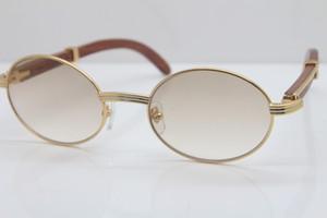 الساخنة النظارات الشمسية الخشب خمر المواد المعدنية للجنسين 7550178 خشبي نظارات الشمس الذهب جولة الخشب الإطار الكامل حجم الإطار: 57-22-135mm