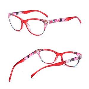 Cat Eye Женщины Reading Glasses Mens Смола против усталости Reading-очки очки Прозрачные зрелища Фирменные женские