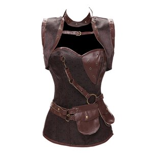 Dobby Faux Leather Punk Corset Steel Boned Gothic Clothing Waist Trainer Basque Steampunk Corselet Cosplay Party Outfits S-6XL MX200506