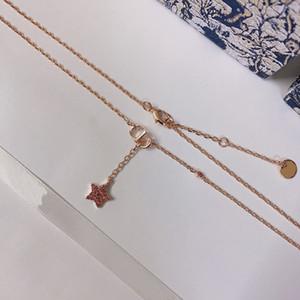 C2297 Cadeia clavícula colar de corrente ajustável de ouro rosa Beleza feminina rosa imitação de cristal pingente de estrela de borla