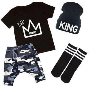 США продавец малышей Дети Детские мальчики топы футболка камуфляж брюки наряды комплект одежды