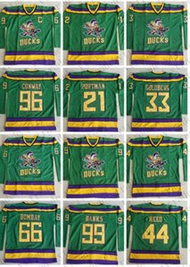 The Mighty Ducks Moive Jersey 96 Charlie Conway 99 Adam Banks 66 Bombay 33 Greg Goldberg 44 Reed 21 Dean Portman Stitched Hockey Jerseys