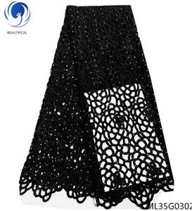 BEAUTIFICAL afrikanische Guipure Schnürsenkel Gewebe schwarze Schnur Spitzegewebe 2019 wasserlöslichen Spitzen-Kleid für Frauen 5yards / lot ML25G14