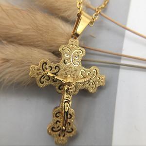 Ожерелье Урожай классической большого крест вера распятие ожерелья цепи христианского Иисус Религиозной Подвеска для женщин мужчины Шарм штраф ювелирных подарков
