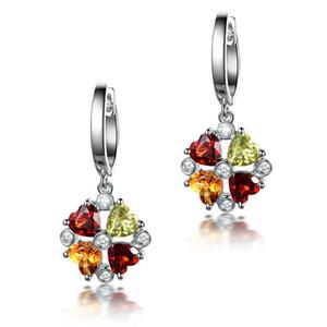 Pendientes de piedras preciosas de colores europeos y americanos platino 18K con incrustaciones de oro amarillo cristal Granate olivino pendientes de joyería de plata pura