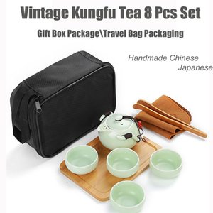 El Çin Japon Vintage Kungfu Çay 8 Parça Set-Porselen Demlik 4 fincanları Bambu Tepsi Ve Çay klip Ve Taşınabilir Seyahat Çantası