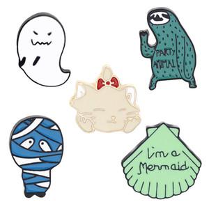 Yaratıcı Cadılar Bayramı Karikatür Broş Spooky Tembel Mumya Kedi Pin erkek Bayanlar Yaka Şapka Rozeti Emaye Alaşım Takı Broş