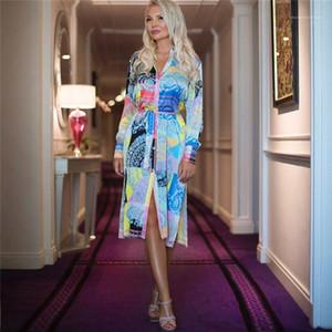 Fashion Dress Flora stampato risvolto collo lungo abito manica vestito casuale primavera-estate Designer Womens Shirt