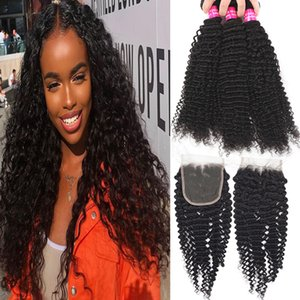 9A Brazilian Virgin Hair Bundles with Lace Closure 100% Brazilian Kinky Curly Deep Wave Loose Water Body Wave Straight With Lace Closure