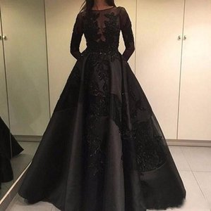 2020 Elie Saab Black Long Sleeves Formal Evening Dress A Line With Detachable Train Formal Holiday Party Gown Custom Made Plus Size