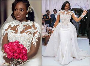 2020 Plus Size Arabic Aso Ebi Luxurious Lace Beaded Wedding Dresses Long Sleeves Mermaid Bridal Dresses Sheer Neck Wedding Gowns ZJ255