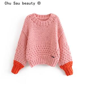 Chu Sau bellezza 2019 nuovo modo Knitter lavorate a mano maglioni Donne Blogger Chic Splicing allentata Autunno Inverno Pullover femminile