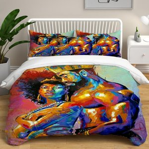 عشاق النمط الأفريقي زوجين غطاء لحاف Set الملك والملكة اللوحة 3D السرير غطاء غطاء السرير الكتان Set مخصص لحاف وسادة