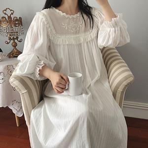 Kadın Lolita Elbise Prenses Sleepshirts Vintage Saray Tarzı Dantel Işlemeli Nightgowns. Victoria Gecelik Salonu Pijama Q190420