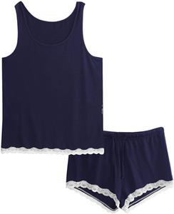 Кружева сращивания жилет шорты костюм женский пижамы из двух частей набор высокое качество круглый воротник хлопок быстрая сушка серый 29pg C1