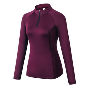 Women Autumn Zipper Long Sleeve Sports Fitness Yoga Training Quick-Drying Clothes T-Shirt Sweater Tops Blouse NEW!