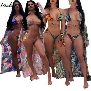 IASKY 2020 Sexy Print Floral Bandage Bikinis Set with Beach cover ups women Thong Swimsuits Bathing Suit swimwear 3PCS Set