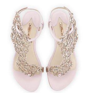 Chanclas mujer alas de ángel tanga zapatos casuales planos Sophia Webster cristal mariposa sandalias planas mujer tacones vestido sandalias