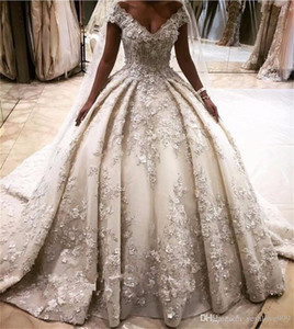 Lusso principessa abiti da sposa abiti di sfera del fiore 3D Appliques Puffy degli abiti di sfera al largo della spalla Cattedrale di treno abito da sposa con lungo velo