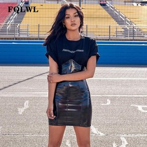 FQLWL Sexy Vita alta PU Gonna di pelle Donna PVC Nero aderente Latex Mini Gonna Autunno Casual Streetwear Breve Gonna a tubino