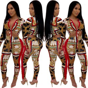 Neck duas peças Pants Moda Bow Tie Womens Dois Pants Pedaço MULIT Imprimir Womens Two Piece Define Sexy Skiny V